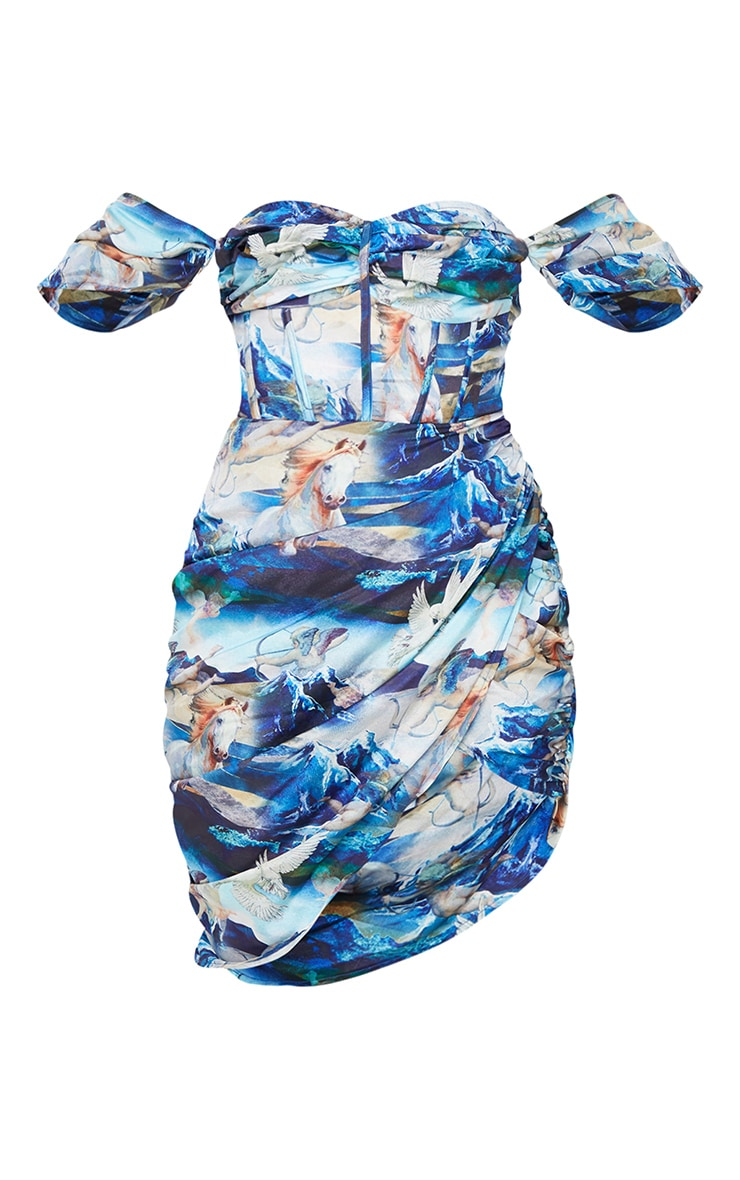 Blue Renaissance Print Satin Bardot Ruched Bodycon Dress 5