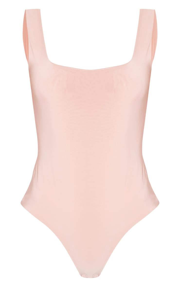 Dusty Pink Second Skin Square Neck Sleeveless Thong Bodysuit 3