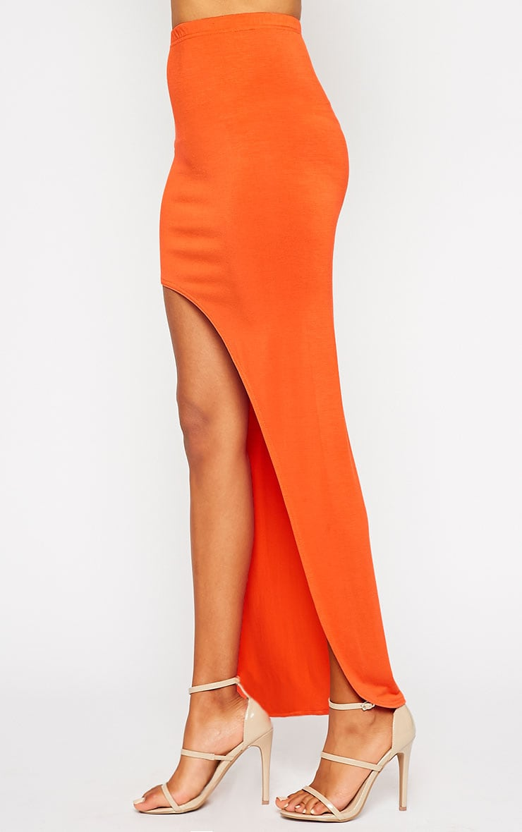 Ashlene Orange Curve Split Jersey Maxi Skirt 3