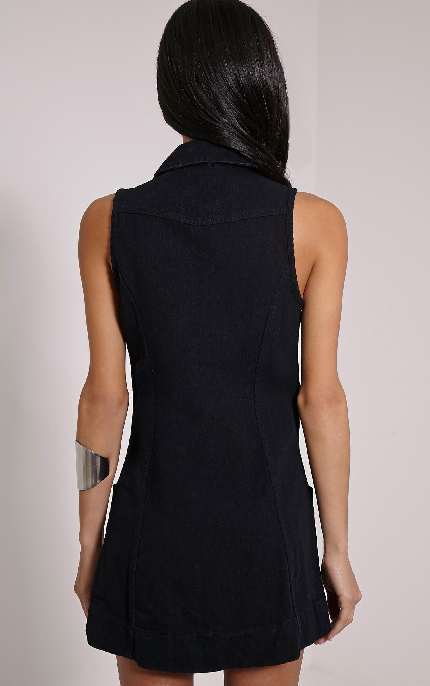 Moxie Black Zip Front Denim Dress 2