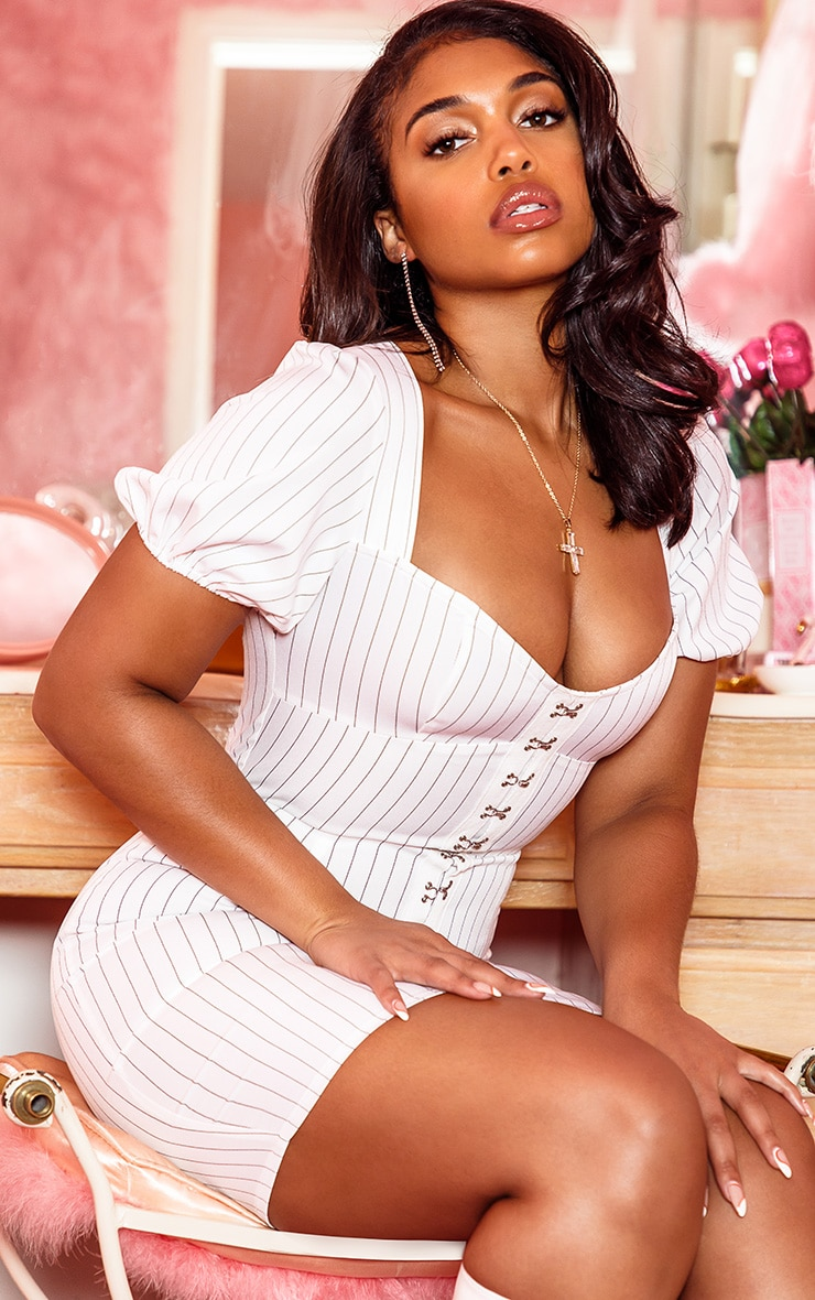 White Pinstripe Puff Sleeve Bodycon Dress