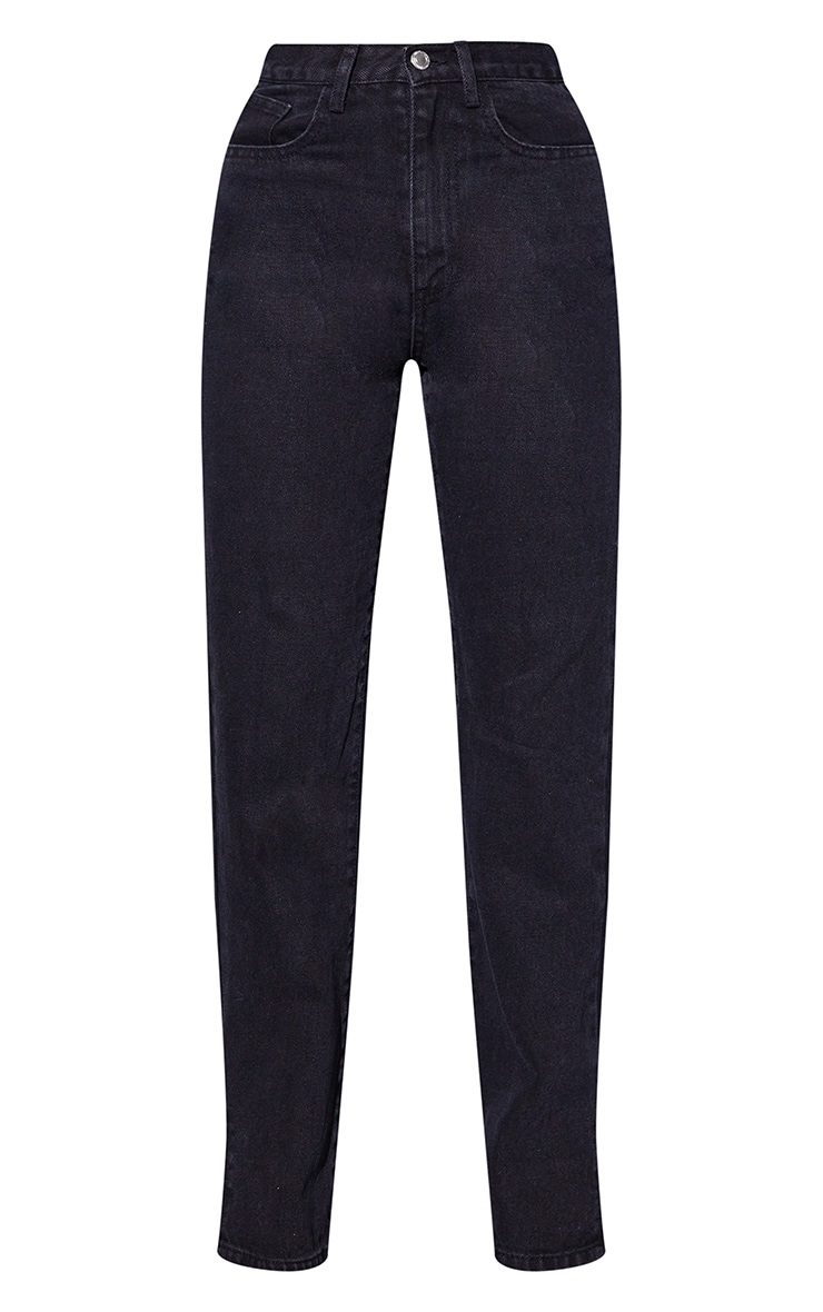 Recycled Washed Black Basic Split Hem Jean 5