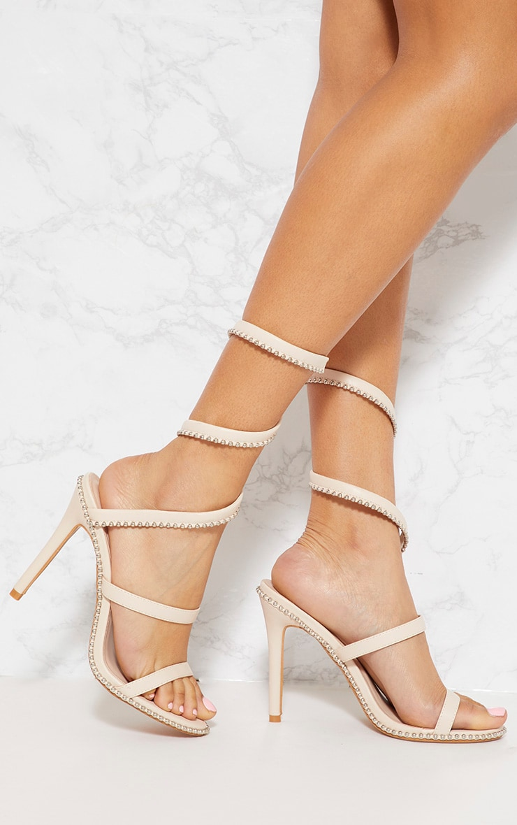 Blush Studded Leg Wrap Sandal