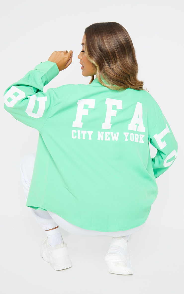 Green Buffalo New York Graphic Oversized Shirt 1