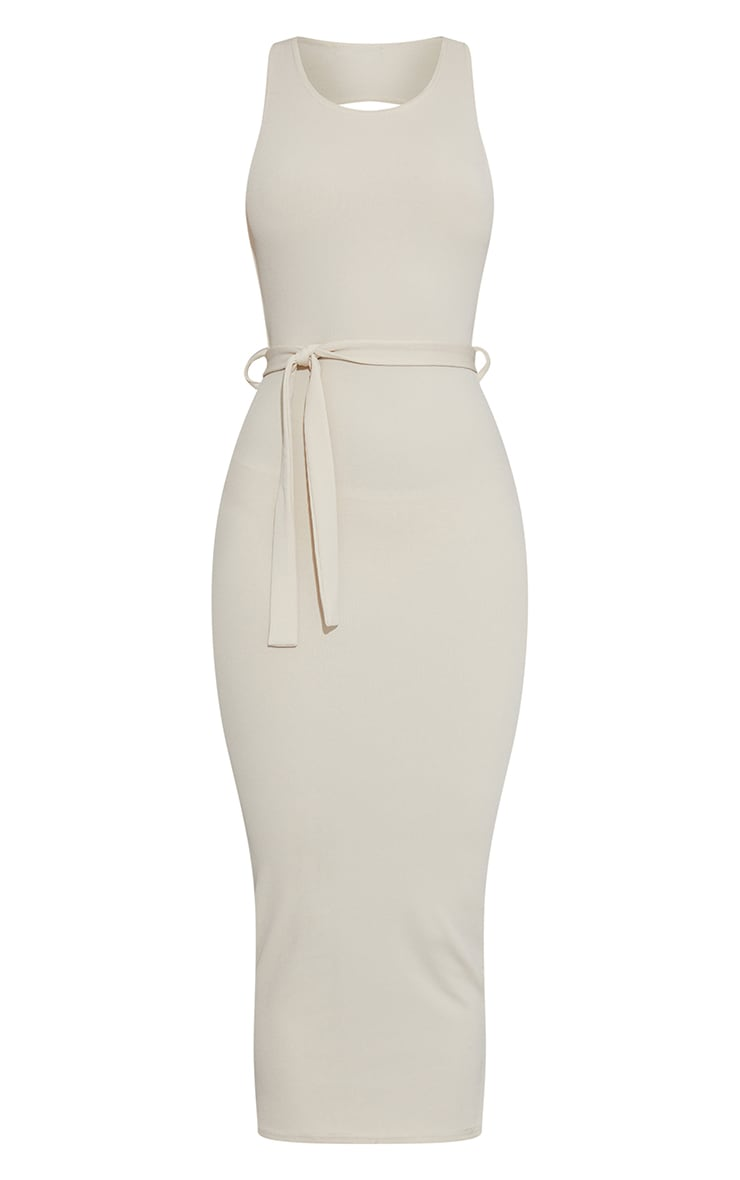 White Rib Cut Out Back Detail Tie Waist Midaxi Dress 5