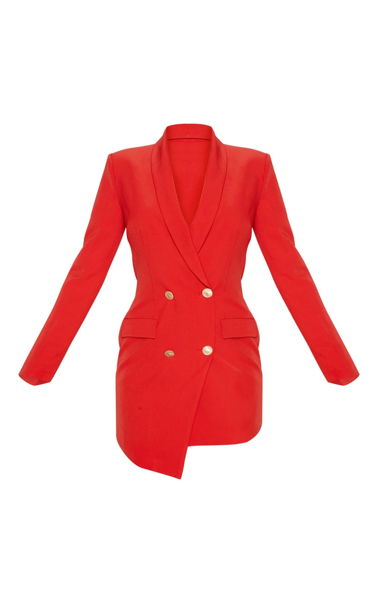 Red Gold Button Blazer Dress 3