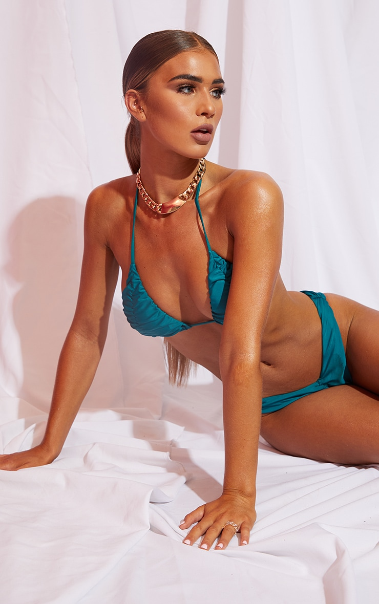 Teal Ruched Cup Padded Triangle Bikini Top 1