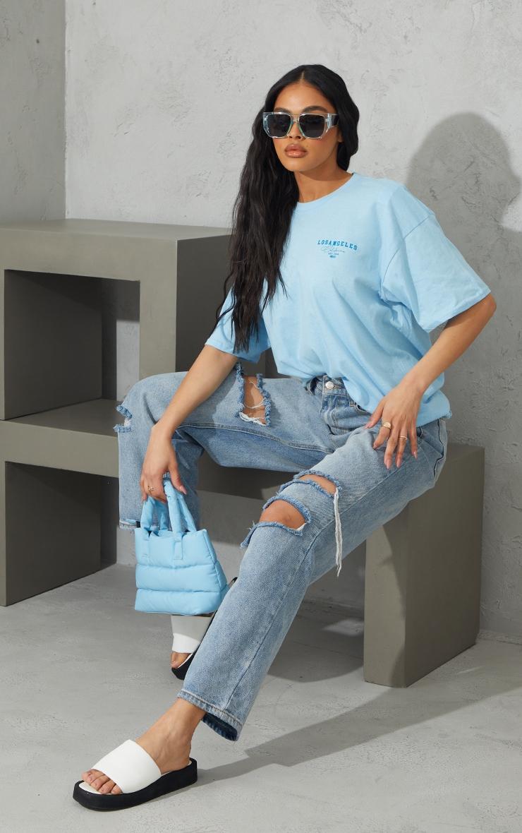 Light Blue Los Angeles Small Chest Print T Shirt 3