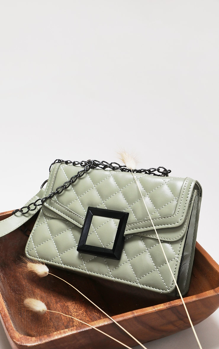 Sage Green Quilted Cross Body Bag 5