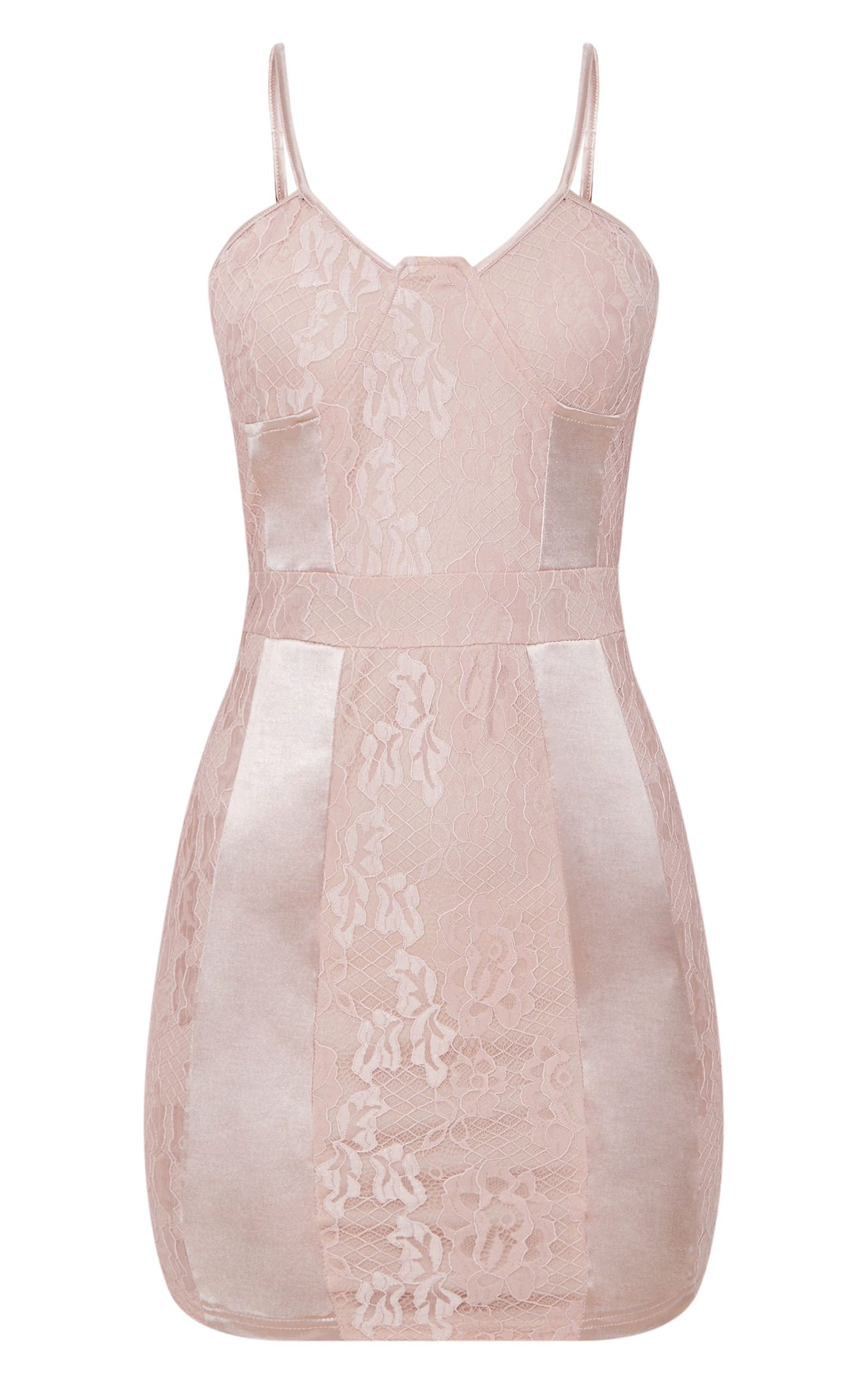 Dusty Pink Lace Strappy Satin Panel Bodycon Dress 3