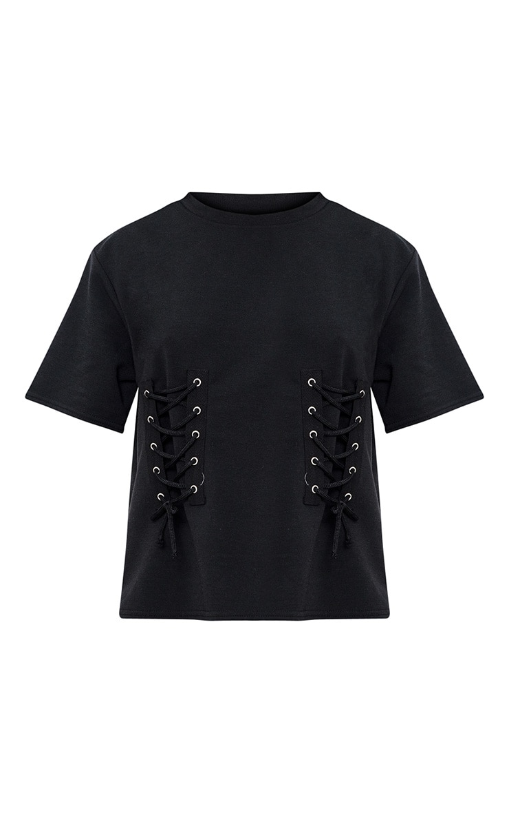 Black Double Lace Up  Sweater 3