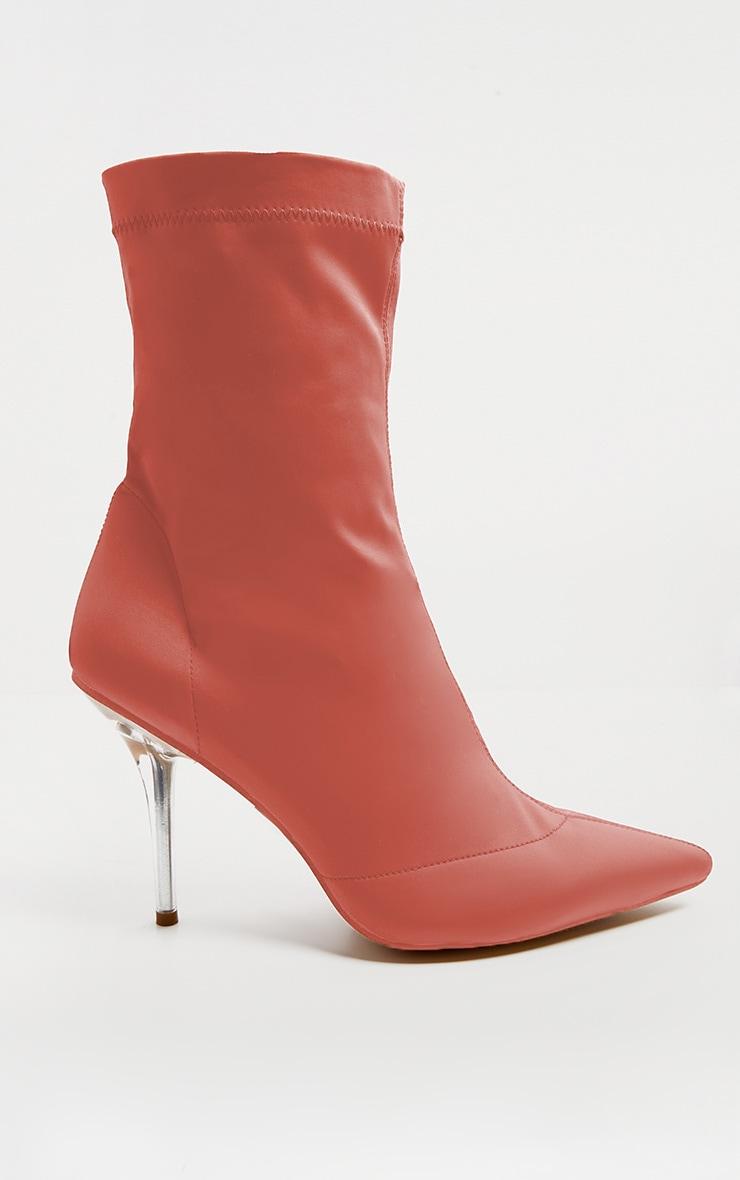 Deep Peach Clear Heel Sock Boot  4