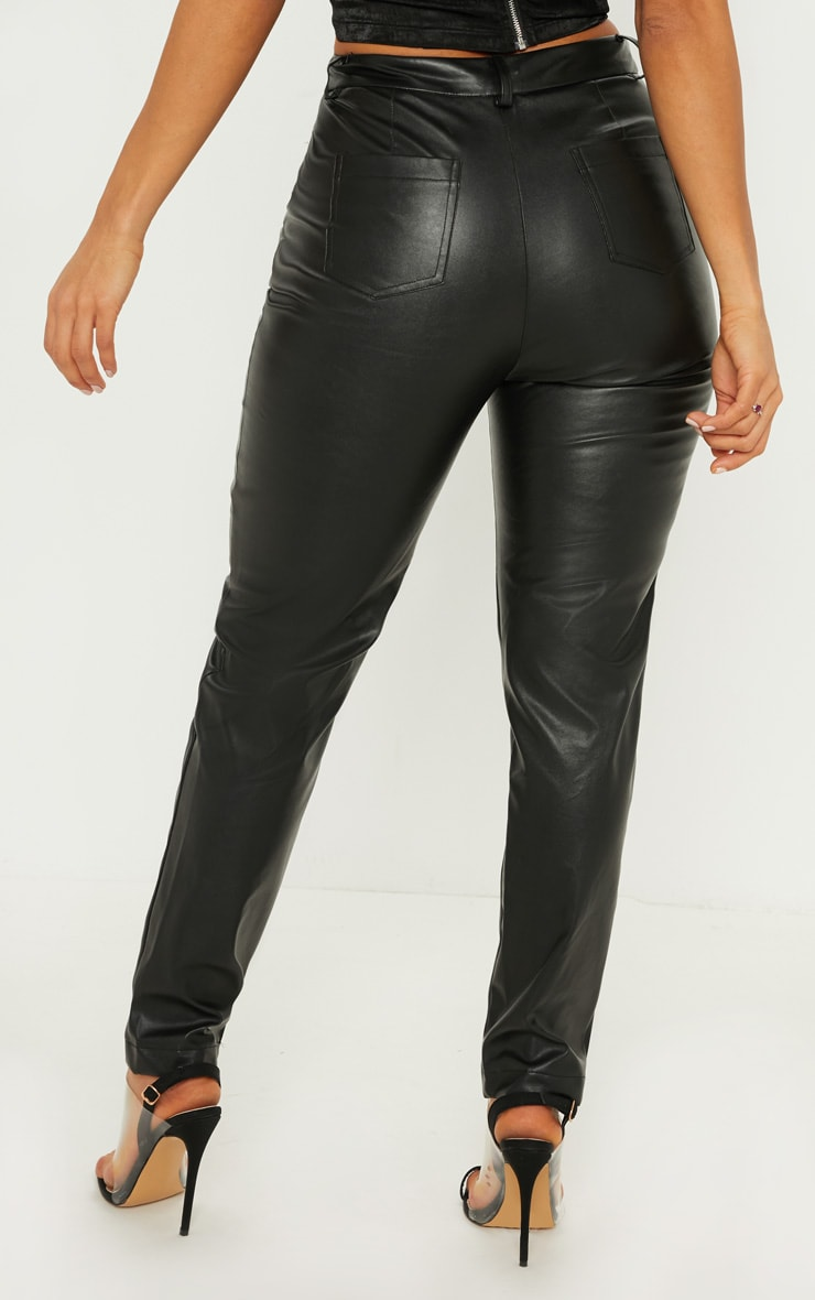 Black Faux Leather Zip Detail Skinny Pants 4