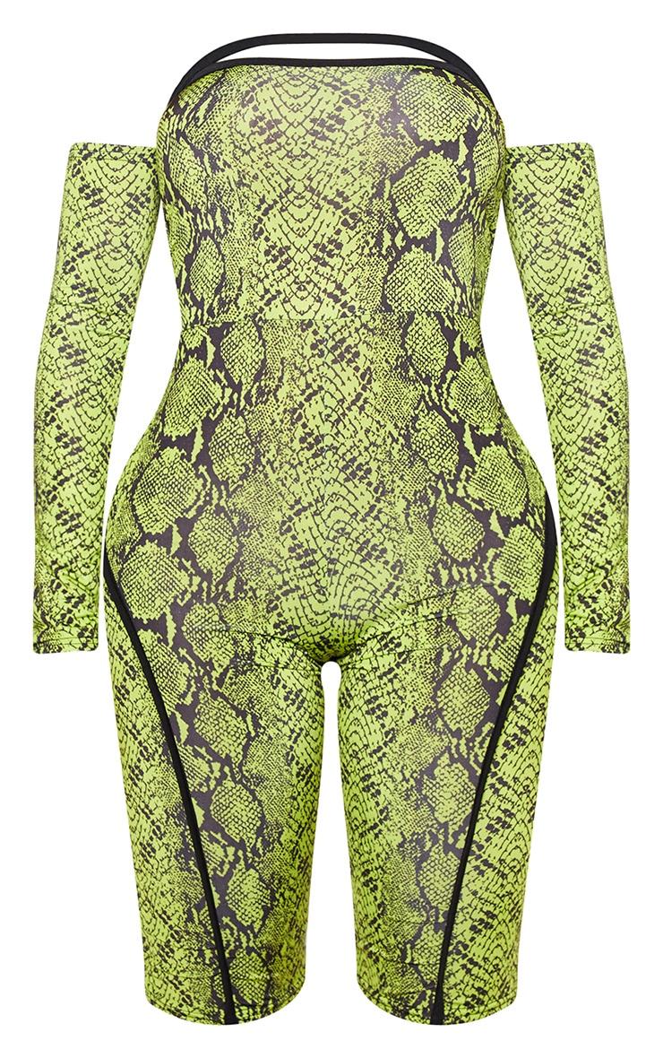 Shape Neon Lime Snake Print Binding Detail Bardot Unitard 3