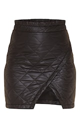 Black Quilted Wrap Front Mini Skirt 6