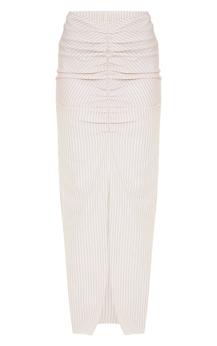 Stone Stripe Linen Look Ruched Detail Midaxi Skirt 5
