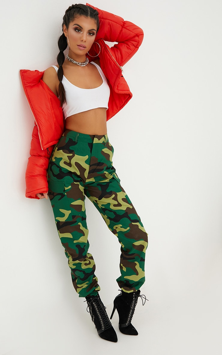 Green Camo Print Cargo Trousers 1