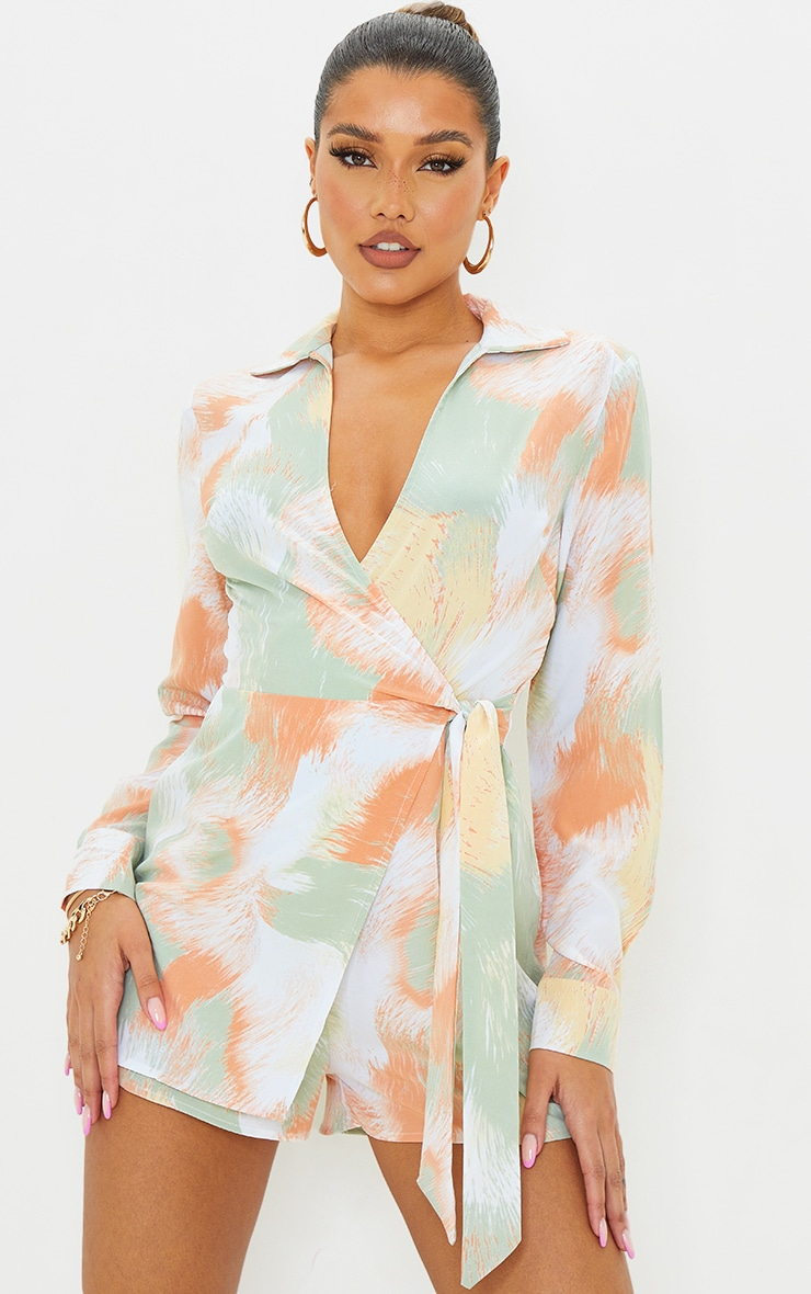 Green Printed Wrap Collared Playsuit 1