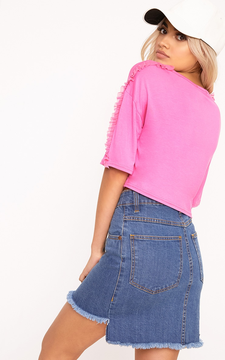 Hot Pink Mesh Tulle Frill T Shirt 2