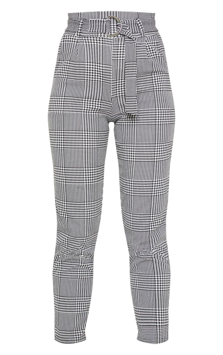 Monochrome Check D Ring Belted Cigarette Pants  3