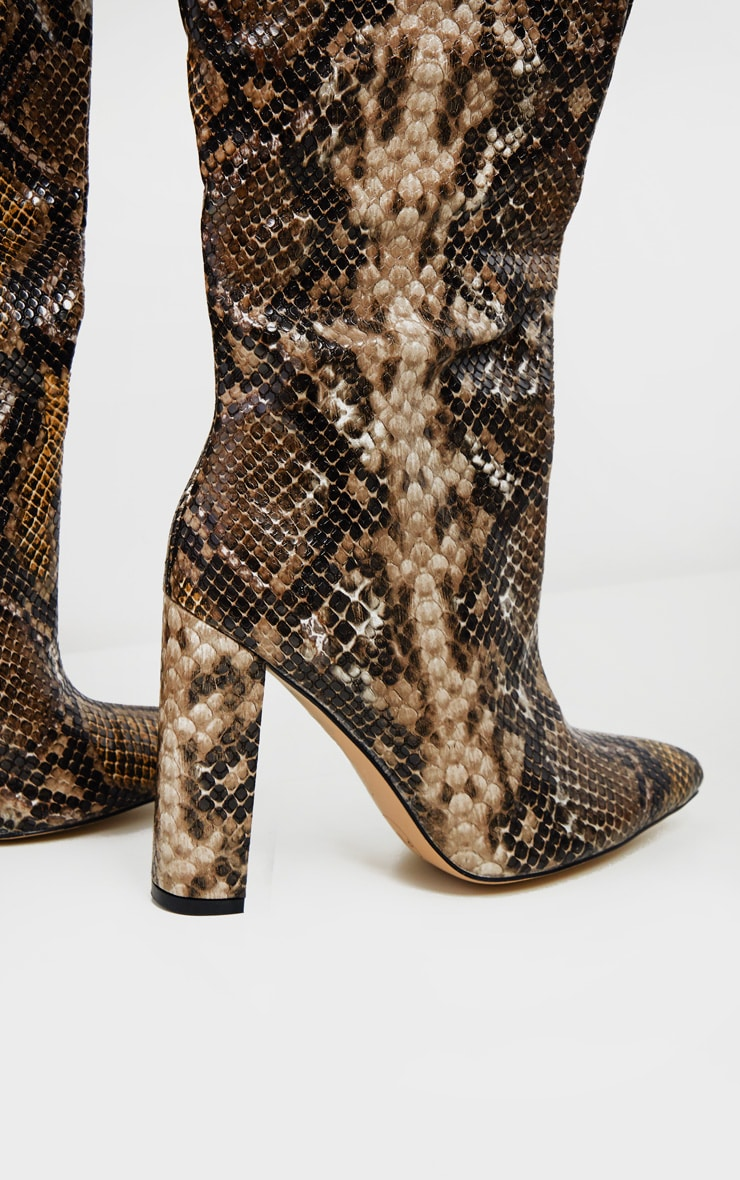 Snake Thigh High Point Block Heel Boot 3