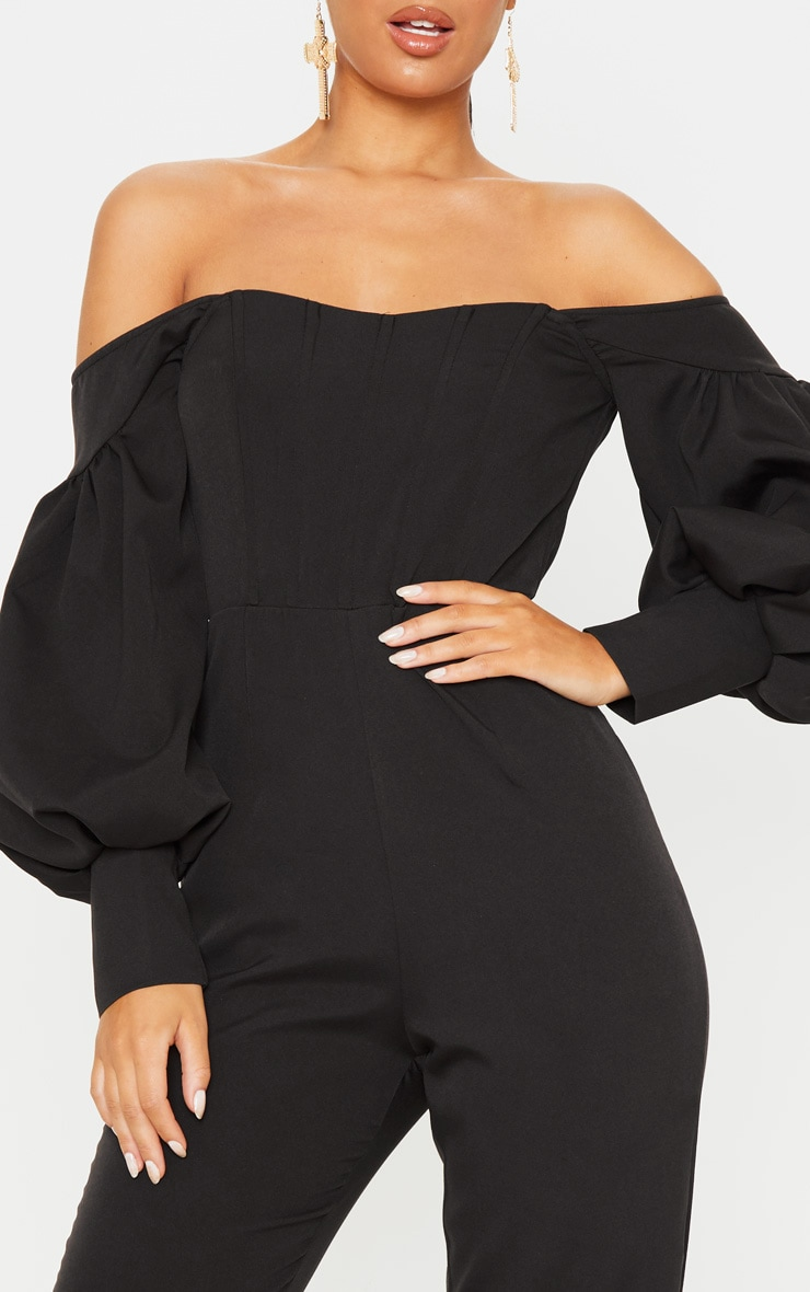 Black Bardot Balloon Sleeve Corset Jumpsuit 5