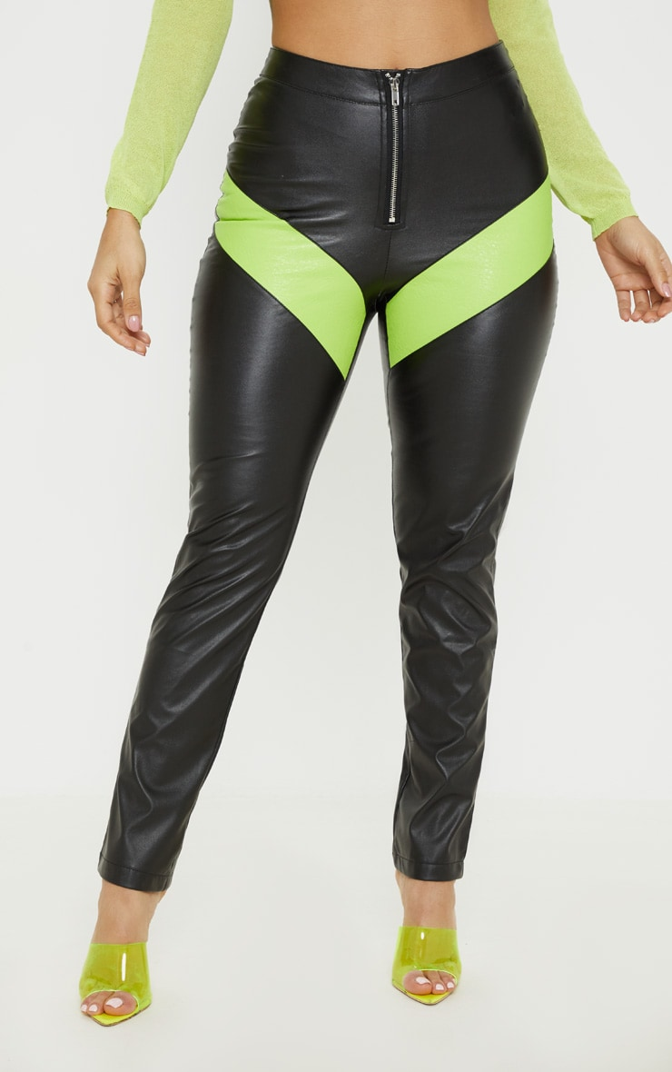 Pantalon droit en similicuir noir à zip et colourblocks fluo 2