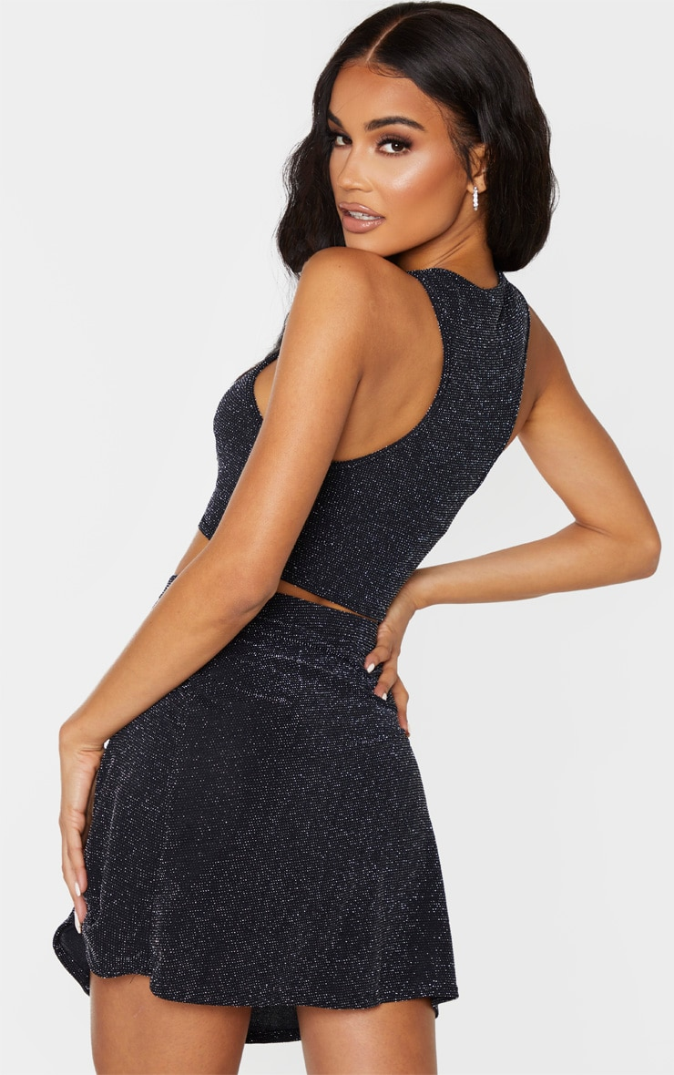 Black Textured Glitter Racer Top And A Line Skirt Set 2