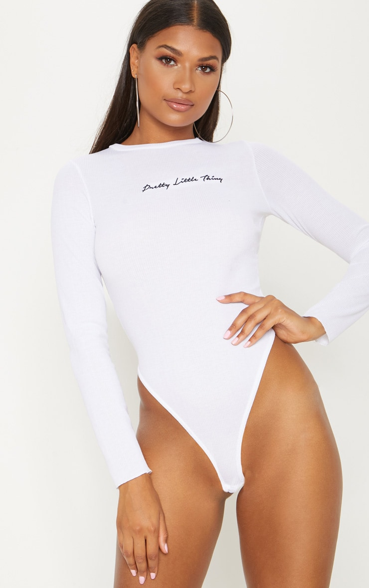 PRETTYLITTLETHING White Rib Embroidered High Rise Long Sleeve Bodysuit  2