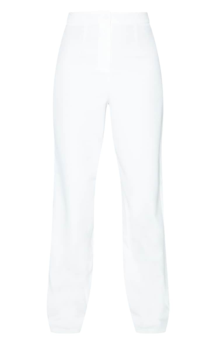 White Woven High Waisted Straight Leg Trousers 5