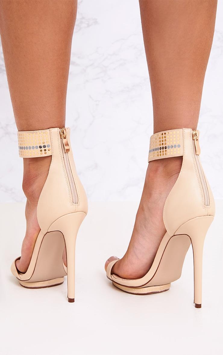 Mahira Nude Embellished Platform Strappy Heels 3
