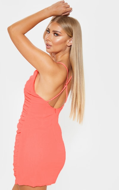 Neon Peach Chiffon Ruched Bodycon Dress