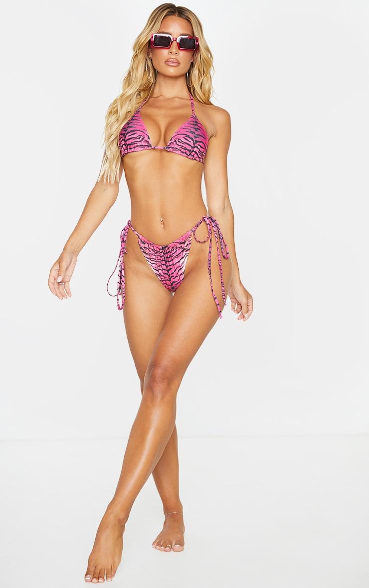 Pink Tiger Tie Side Bikini Bottoms 3