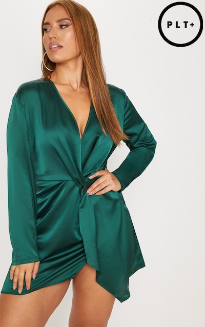 26e24d3accc Plus Emerald Green Satin Long Sleeve Wrap Dress