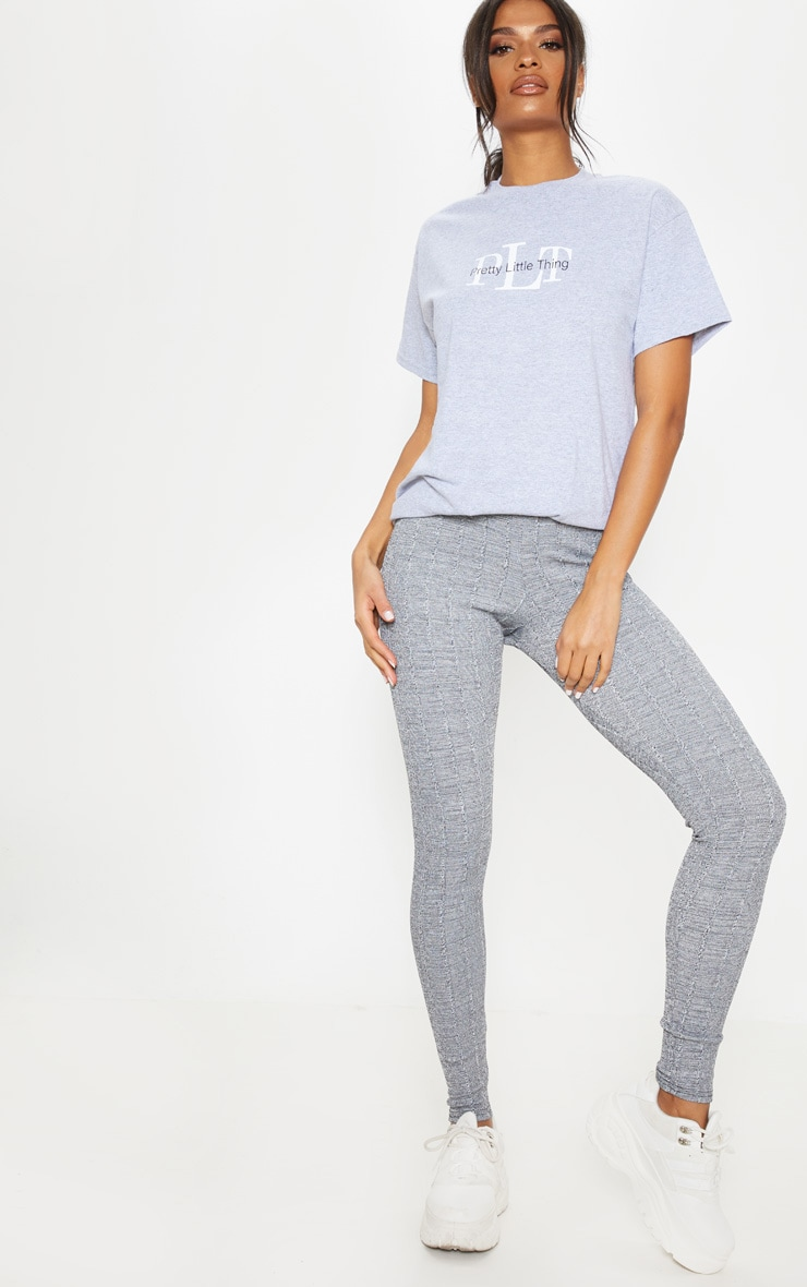 Grey Textured Marl Rib Leggings  1
