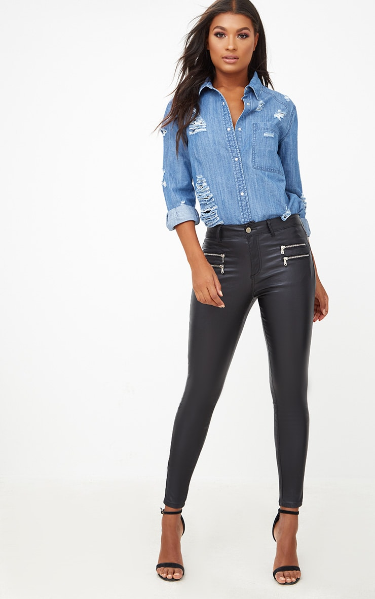 Black Coated Skinny Biker Jean 1