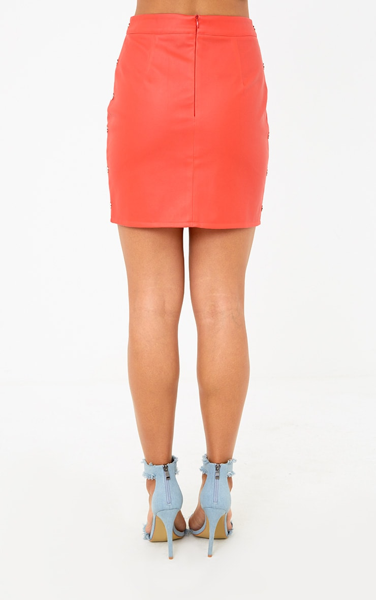 Red Button Side Faux Leather Mini Skirt 4