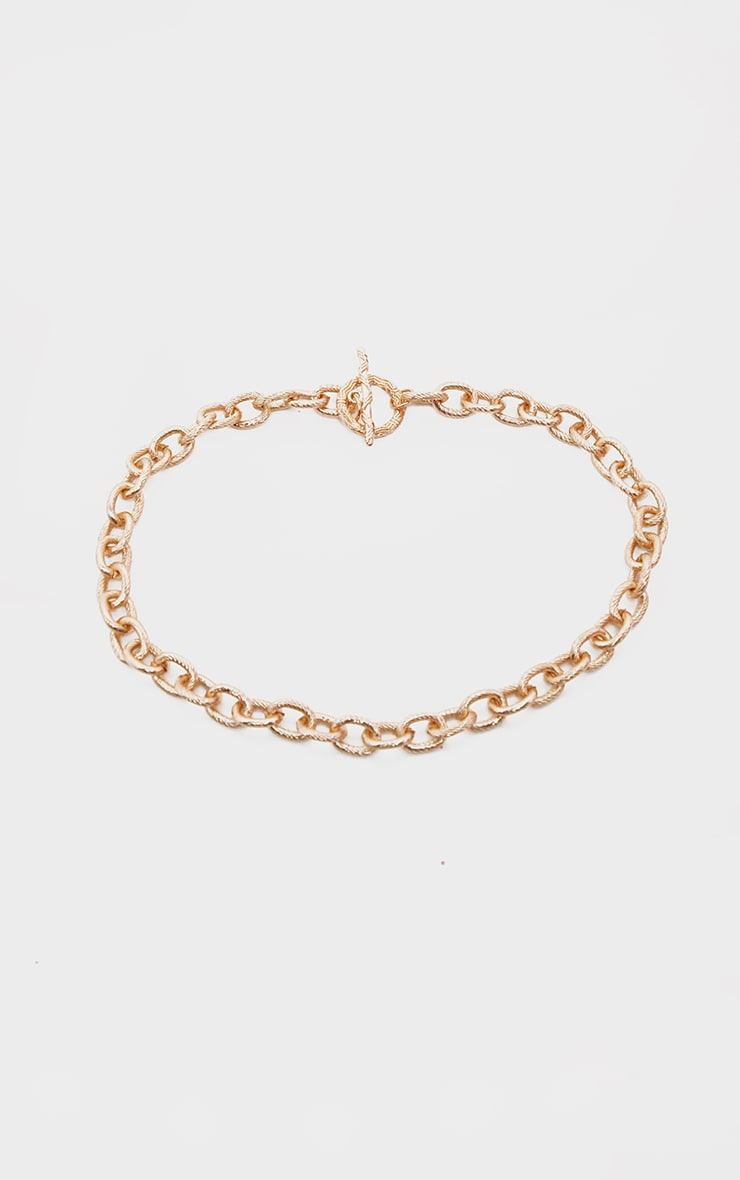 Gold Ornate Textured T Bar Necklace 4