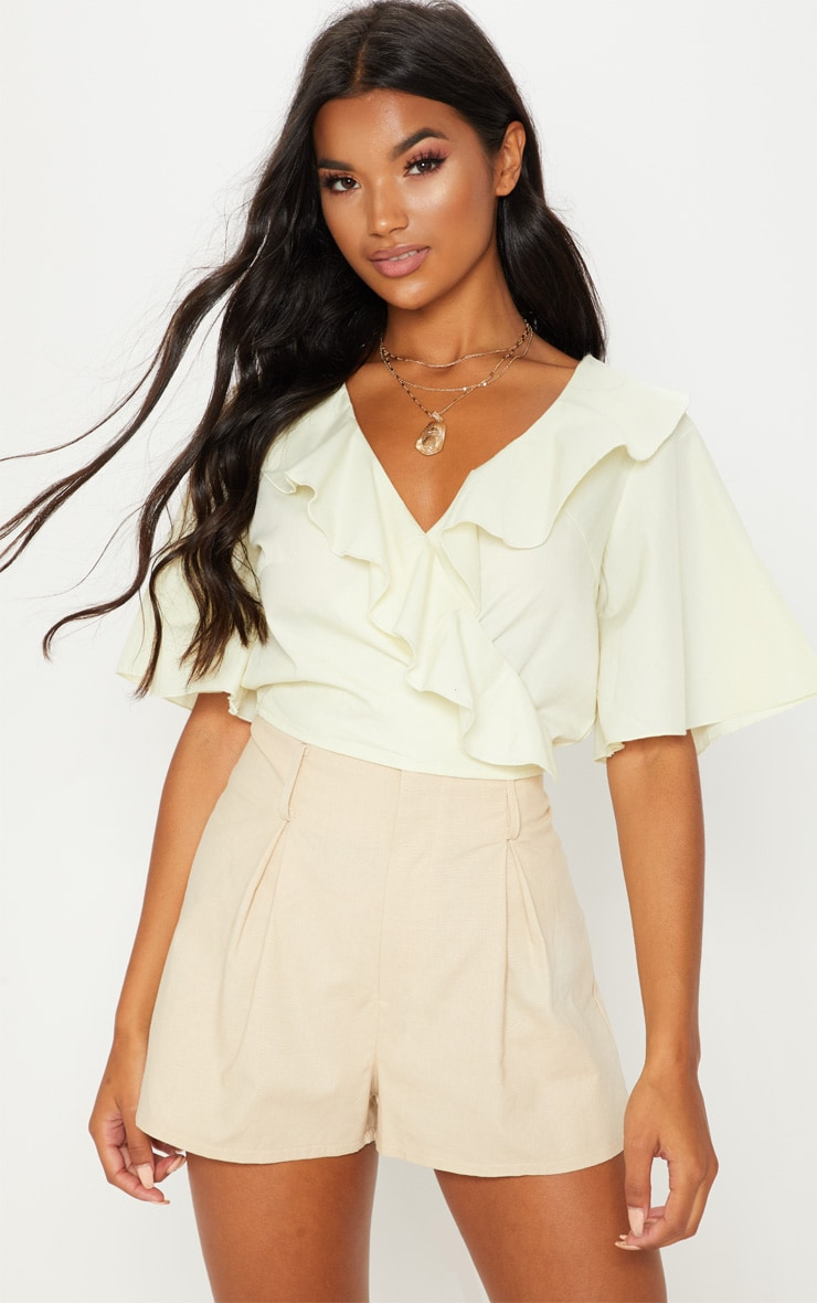 Pale Yellow Frill Wrap Front Crop Blouse 4