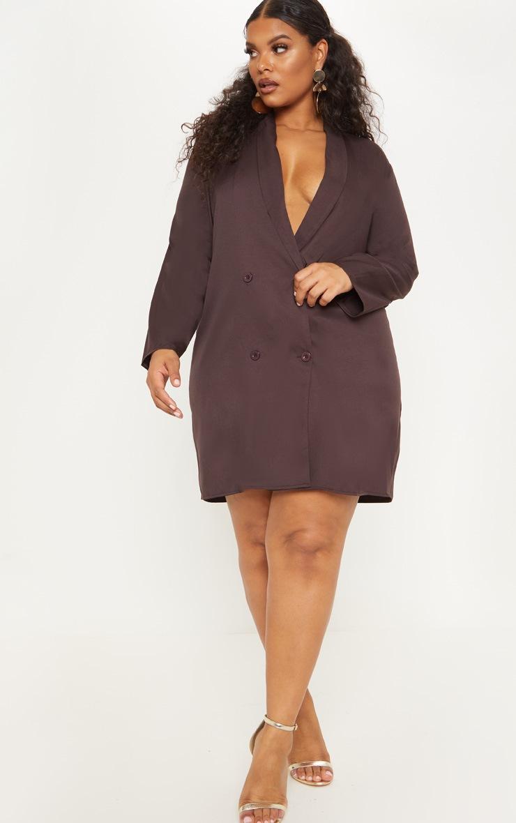 Plus Chocolate Brown Oversized Blazer Dress 4
