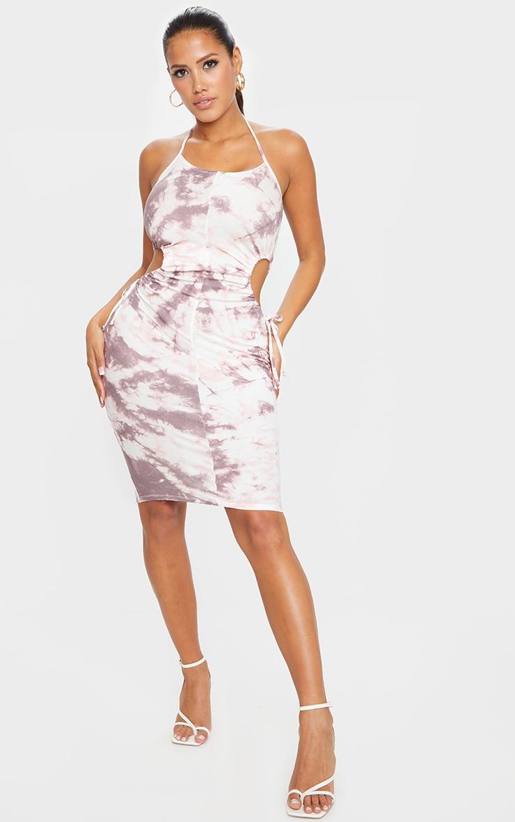 Shape Mauve Tie Dye Jersey Cut Out Side Midi Dress 1