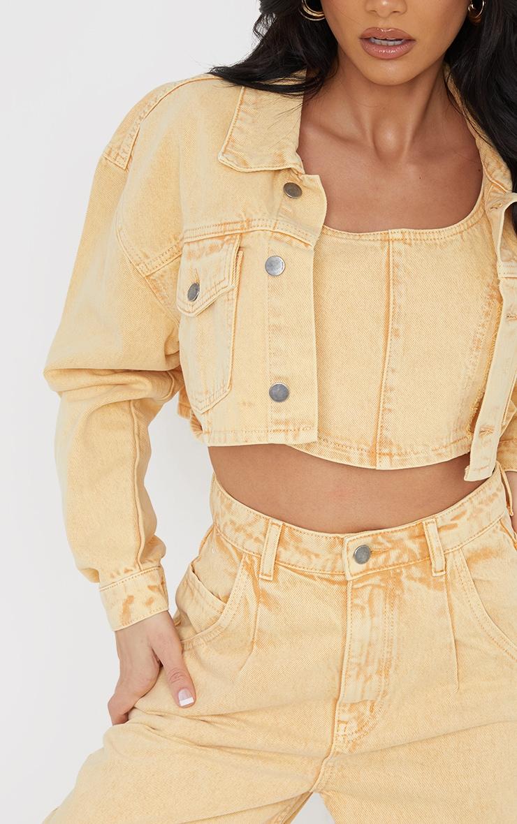Yellow Washed Cropped Denim Jacket 4