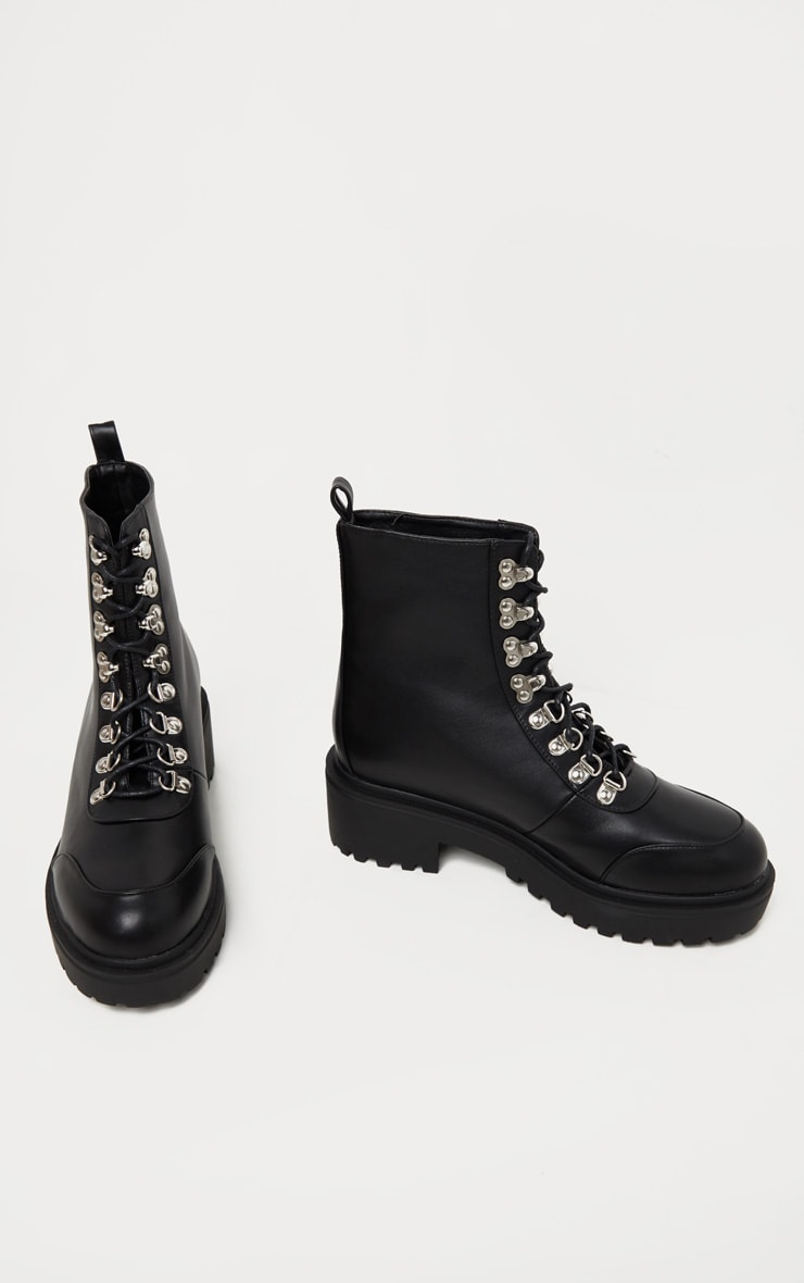 Black Chunky Sole Hiker Boot 3