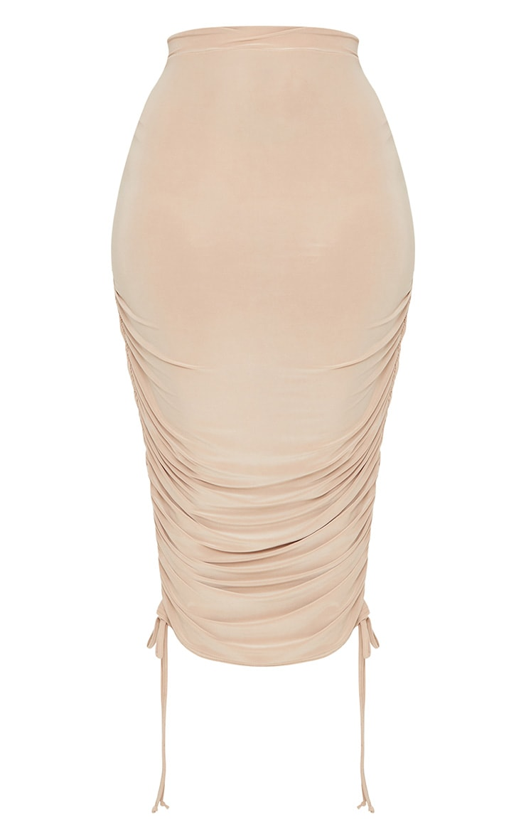 Plus Stone Slinky Ruched Detail Midi Skirt 3