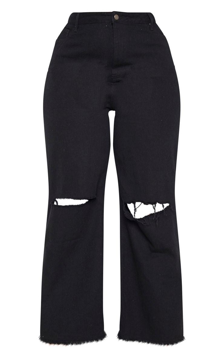 Plus Black Wide Leg Knee Rip Jean 3