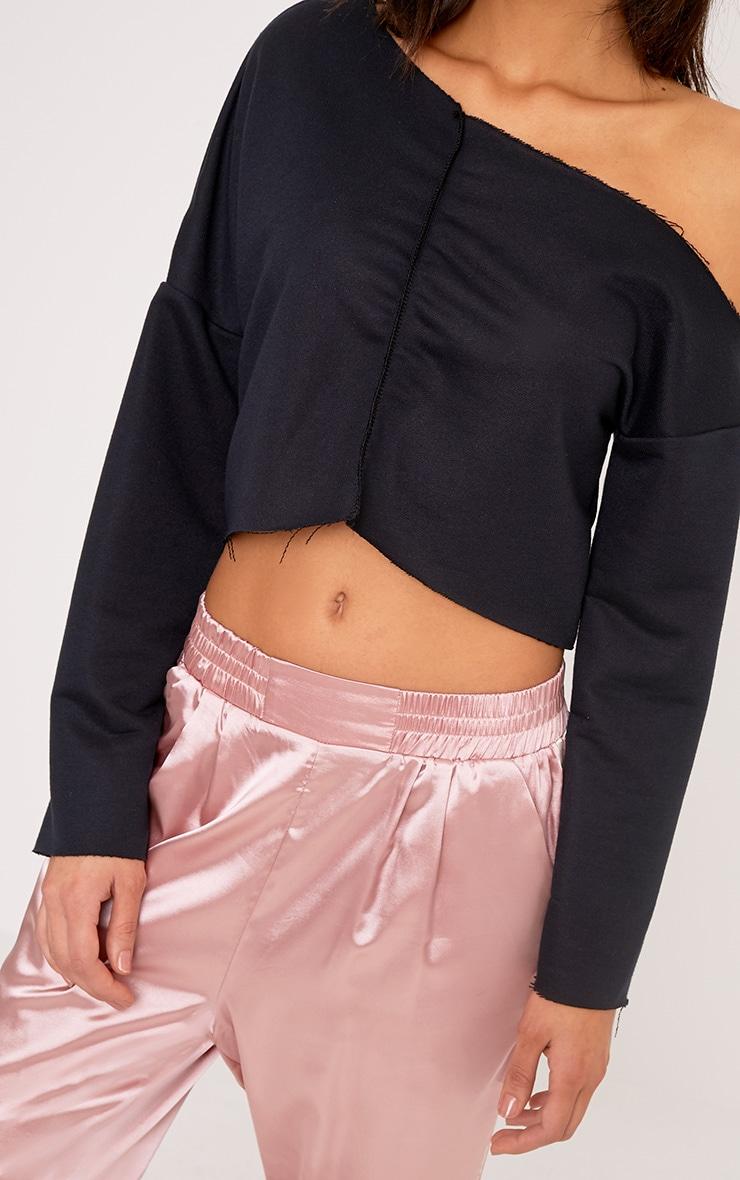 Hadley Black Off Shoulder Cropped Sweater 5