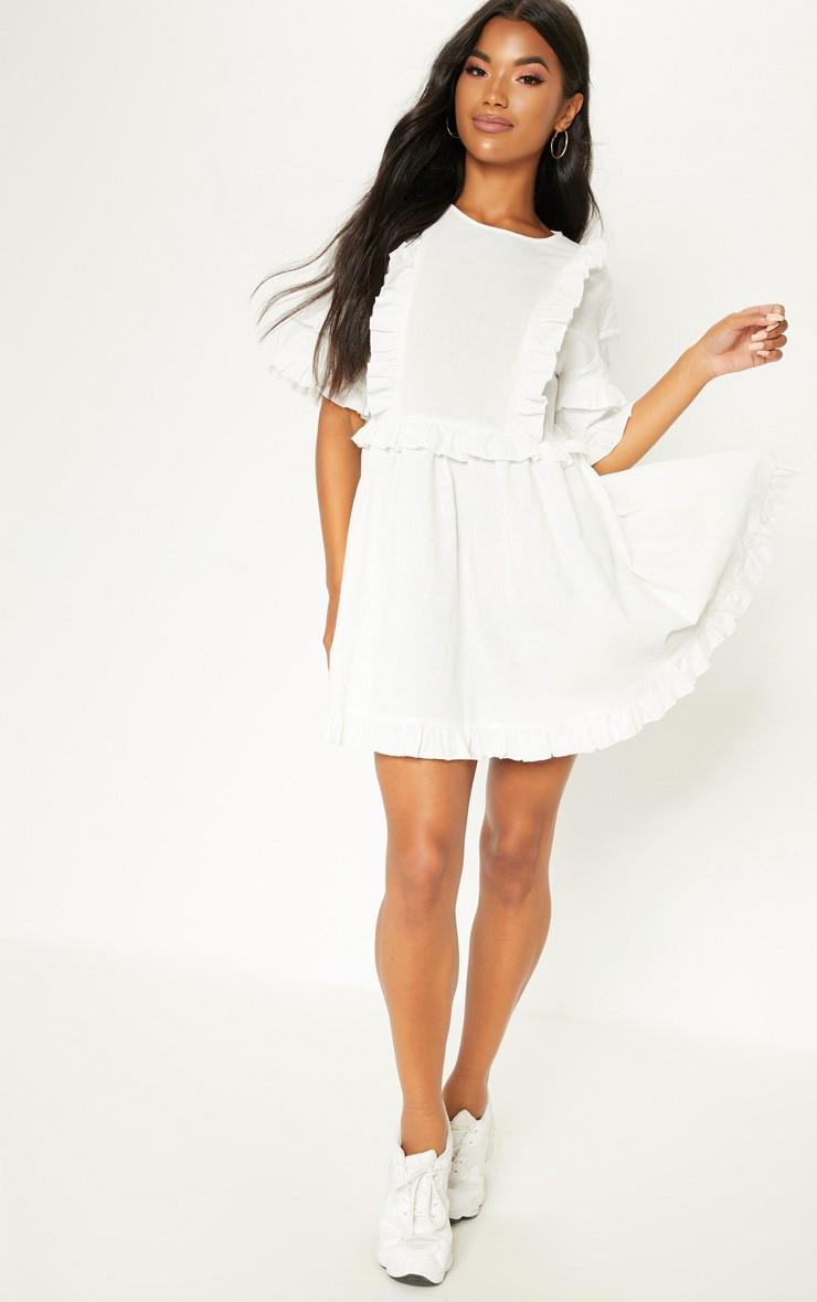 White Woven Frill Split Back Tea Dress 4