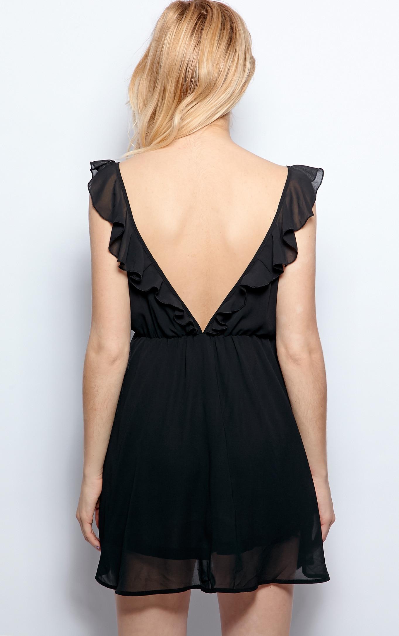 Corinne Black Chiffon Babydoll Dress 2