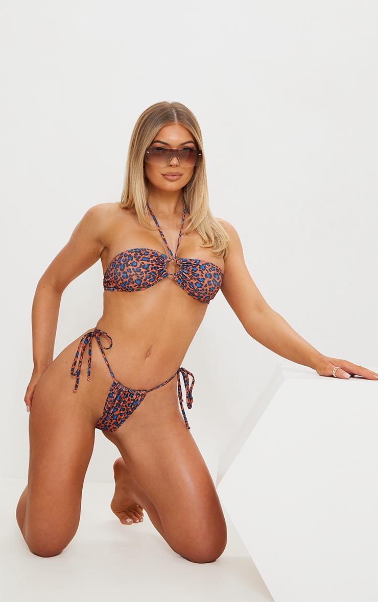 Orange Cheetah Print Tie Side Adjustable Mini Thong Bikini Bottoms 3