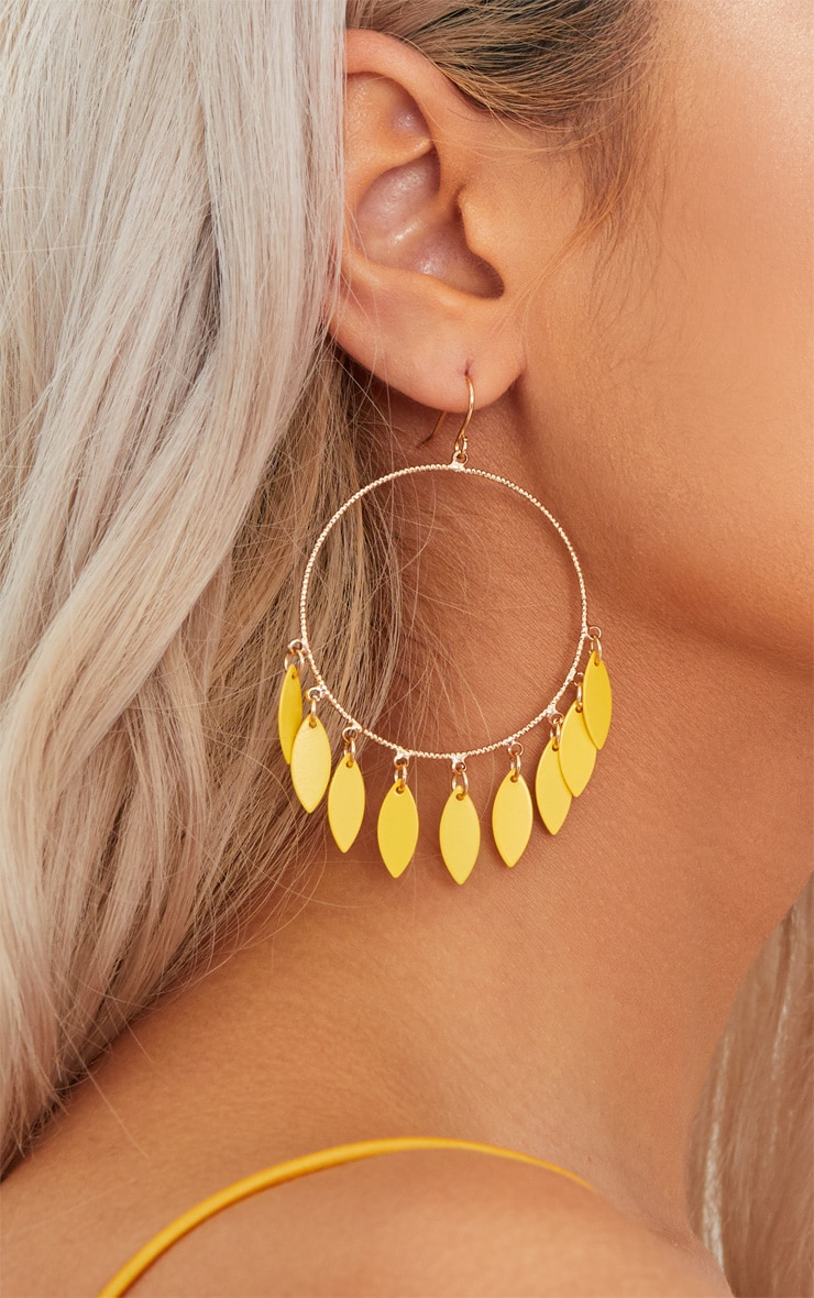 Yellow Teardrop Hoop Earrings 4